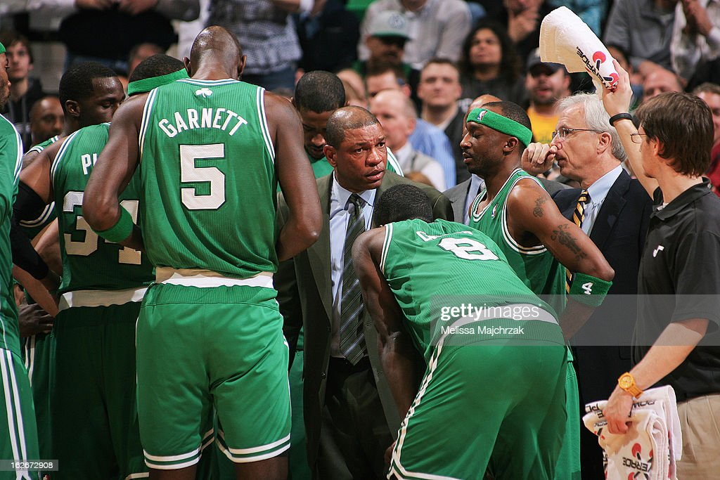 Head Coach Doc Rivers of the Boston Celtics speaks to his team during a game against the Utah Jazz at Energy Solutions Arena on February 25, 2013 in Salt Lake City, Utah.