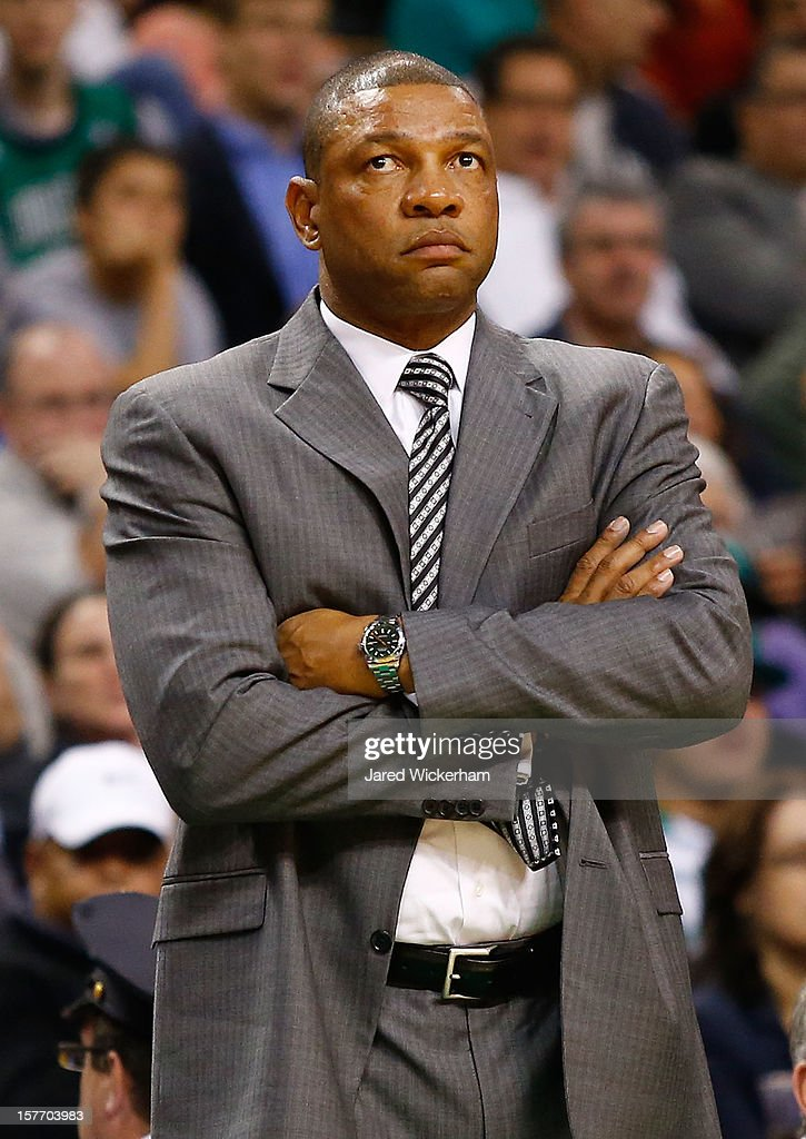 Head coach <a gi-track='captionPersonalityLinkClicked' href=/galleries/search?phrase=Doc+Rivers&family=editorial&specificpeople=206225 ng-click='$event.stopPropagation()'>Doc Rivers</a> of the Boston Celtics watches his team play against the Minnesota Timberwolves during the game on December 5, 2012 at TD Garden in Boston, Massachusetts.