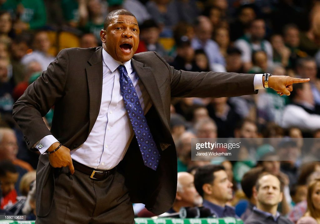 Head coach Doc Rivers of the Boston Celtics yells to his team against the Phoenix Suns during the game on January 9, 2013 at TD Garden in Boston, Massachusetts.
