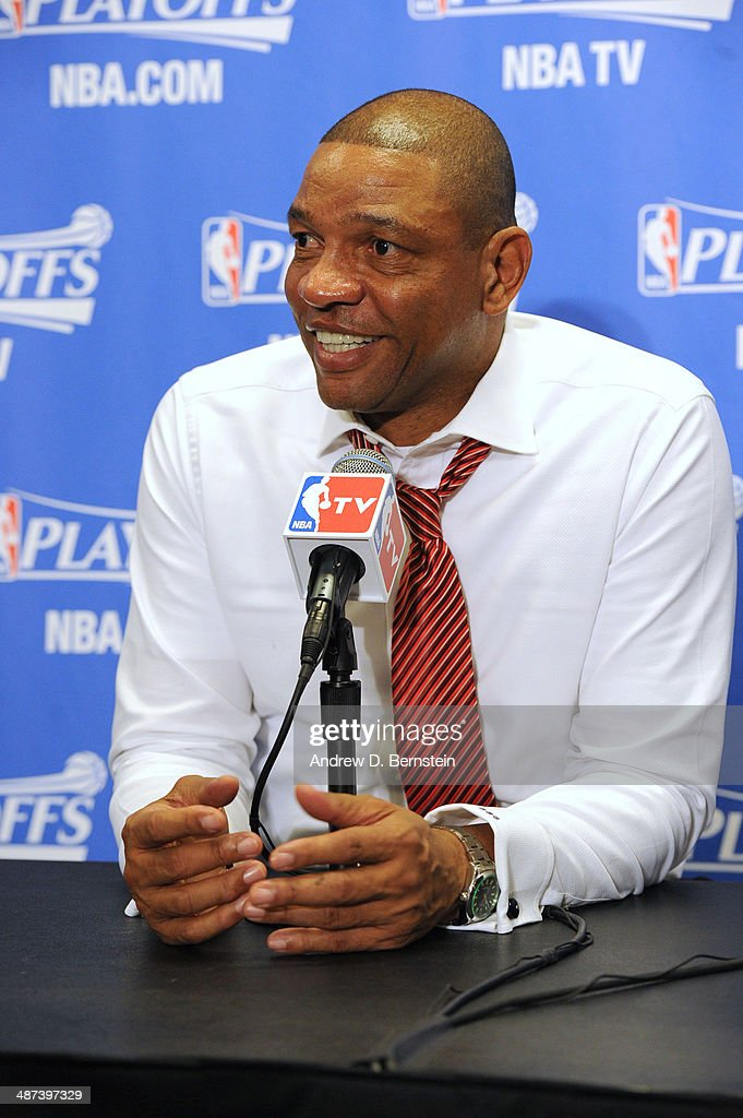 Head coach <a gi-track='captionPersonalityLinkClicked' href=/galleries/search?phrase=Doc+Rivers&family=editorial&specificpeople=206225 ng-click='$event.stopPropagation()'>Doc Rivers</a> of the Los Angeles Clippers answers questions from the media after a game against the Golden State Warriors in Game Five of the Western Conference Quarterfinals at Staples Center on April 29, 2014 in Los Angeles, California.