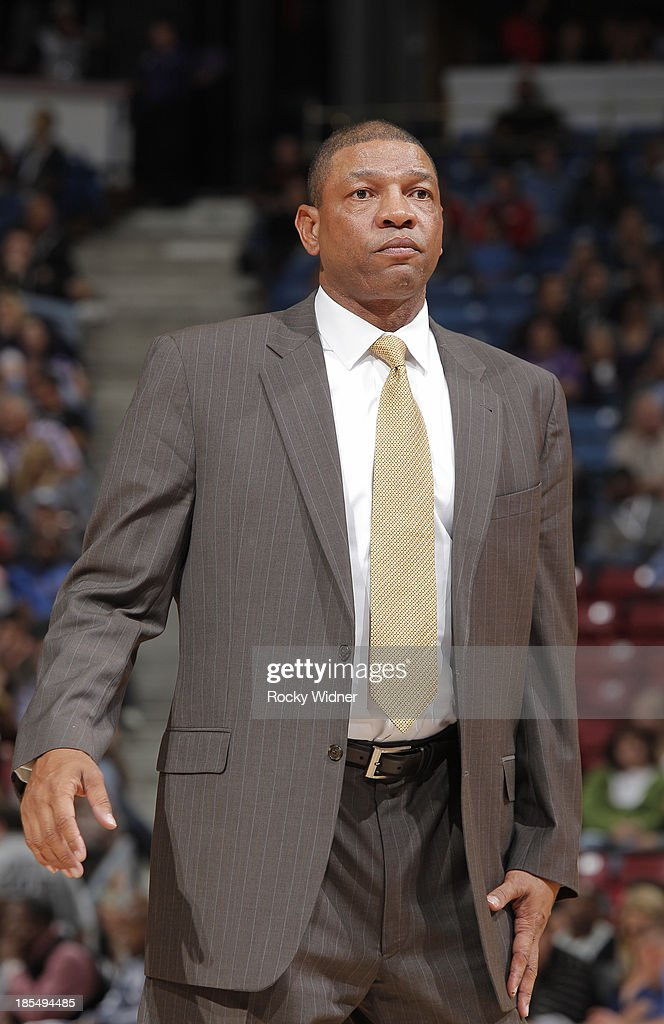 Head Coach <a gi-track='captionPersonalityLinkClicked' href=/galleries/search?phrase=Doc+Rivers&family=editorial&specificpeople=206225 ng-click='$event.stopPropagation()'>Doc Rivers</a> of the Los Angeles Clippers coaches against the Sacramento Kings on October 14, 2013 at Sleep Train Arena in Sacramento, California.