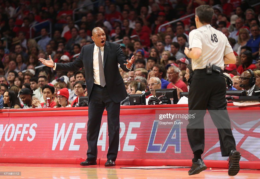 Head coach Doc Rivers of the Los Angeles Clippers complains to referee Scott Foster against the San Antonio Spurs during Game Five of the Western...