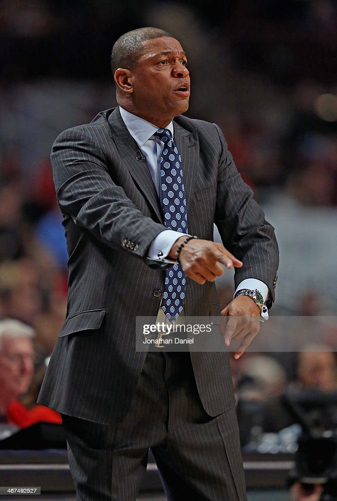 Head coach Doc Rivers of the Los Angeles Clippers gives instructions to his team against the Chicago Bulls at the United Center on January 24, 2014 in Chicago, Illinois.