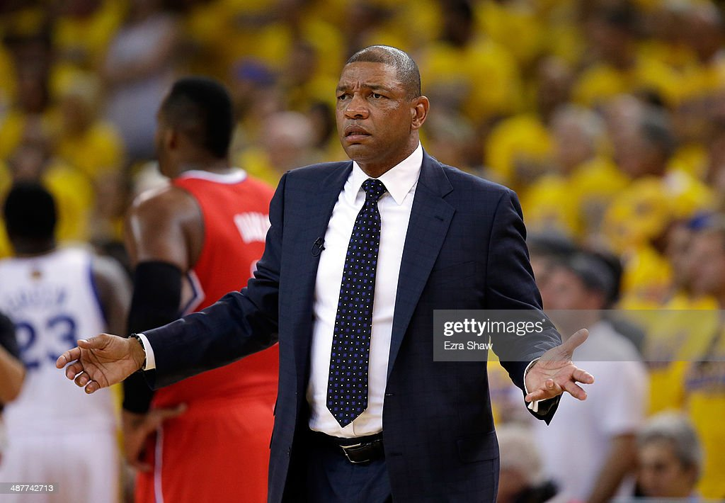 Head coach <a gi-track='captionPersonalityLinkClicked' href=/galleries/search?phrase=Doc+Rivers&family=editorial&specificpeople=206225 ng-click='$event.stopPropagation()'>Doc Rivers</a> of the Los Angeles Clippers questions a call during their game against the Golden State Warriors in Game Six of the Western Conference Quarterfinals during the 2014 NBA Playoffs at ORACLE Arena on May 1, 2014 in Oakland, California.