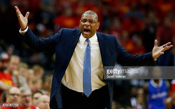 Head coach Doc Rivers of the Los Angeles Clippers reacts in the fourth quarter against the Houston Rockets during Game Seven of the Western...