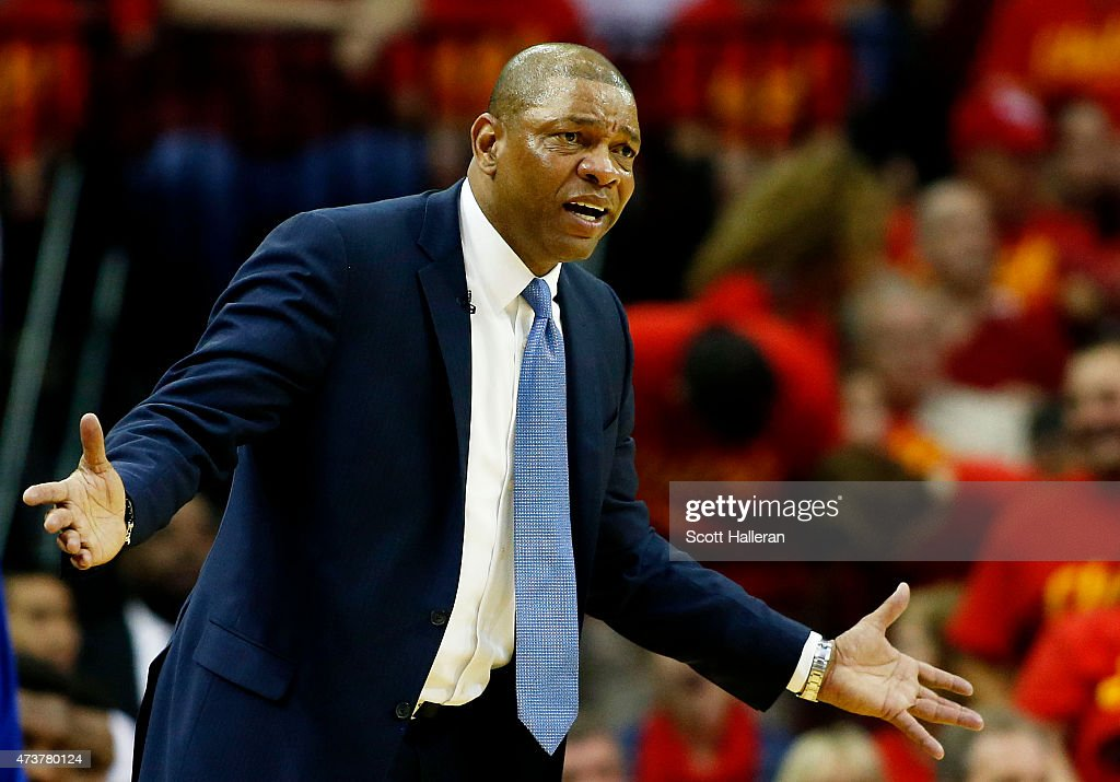 Head coach Doc Rivers of the Los Angeles Clippers reacts in the third quarter against the Houston Rockets during Game Seven of the Western Conference...