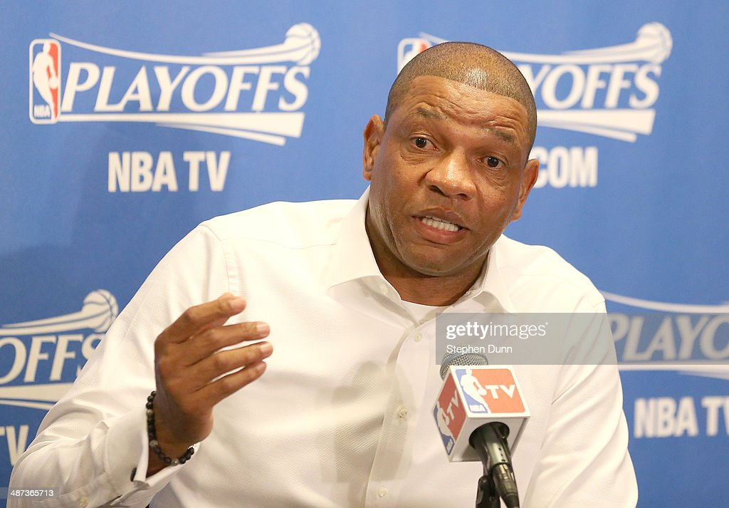Head coach Doc Rivers of the Los Angeles Clippers speaks at a press conference before playing the Golden State Warriors in Game Five of the Western Conference Quarterfinals during the 2014 NBA Playoffs at Staples Center on April 29, 2014 in Los Angeles, California.