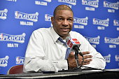 Head Coach Doc Rivers of the Los Angeles Clippers speaks to the media after Game Seven of the Western Conference Semifinals against the Houston...