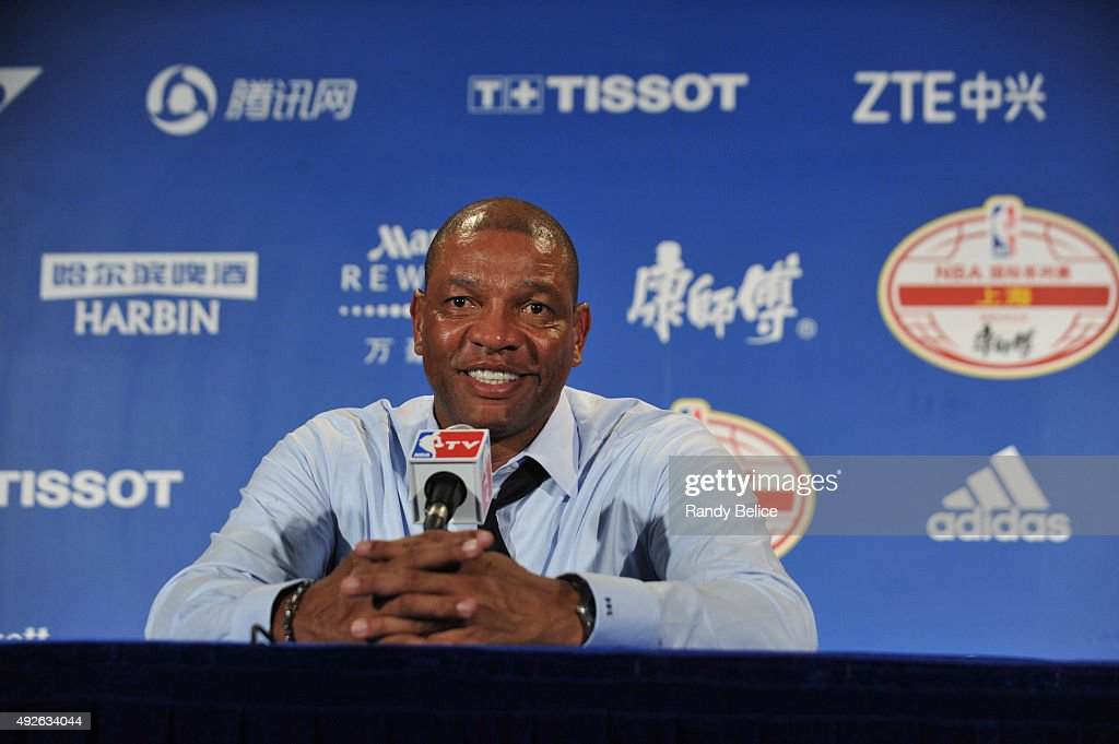 Head Coach Doc Rivers of the Los Angeles Clippers speaks to the media after the game against the Charlotte Hornets as part of the 2015 NBA Global Games China at the Mercedes-Benz Arena on October 14, 2015 in Shanghai, China.