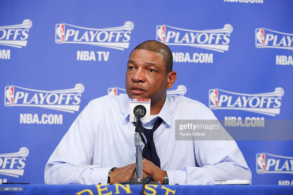 Head coach <a gi-track='captionPersonalityLinkClicked' href=/galleries/search?phrase=Doc+Rivers&family=editorial&specificpeople=206225 ng-click='$event.stopPropagation()'>Doc Rivers</a> of the Los Angeles Clippers speaks to the press after facing the Golden State Warriors in Game Four of the Western Conference Quarterfinals during the 2014 NBA Playoffs at Oracle Arena on April 27, 2014 in Oakland, California.