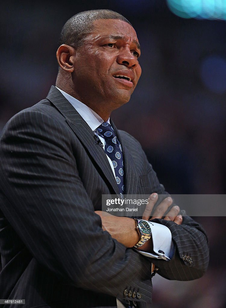 Head coach Doc Rivers of the Los Angeles Clippers watches as his team plays the Chicago Bulls at the United Center on January 24, 2014 in Chicago, Illinois.