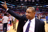 Head coach Doc Rivers of the Los Angeles Clippers waves to fans after the Clippers were eliminated by the Oklahoma City Thunder in Game Six of the...