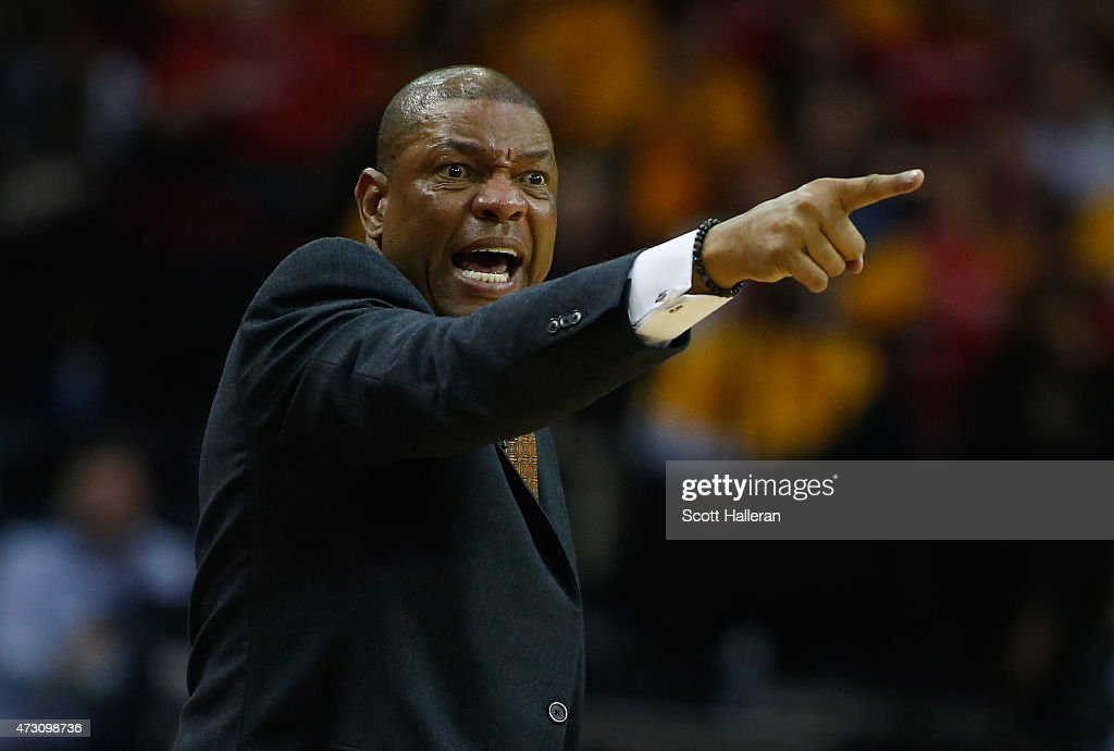 Head coach Doc Rivers of the Los Angeles Clippers yells against the Houston Rockets during Game Five of the Western Conference Semifinals at the...