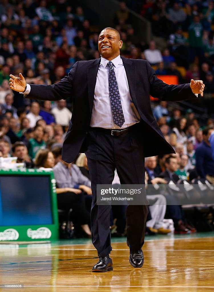 Head coach Doc Rivers reacts after Kevin Garnett #5 of the Boston Celtics was ejected and called for a flagrant 2 foul against the Indiana Pacers during the game on January 4, 2013 at TD Garden in Boston, Massachusetts.