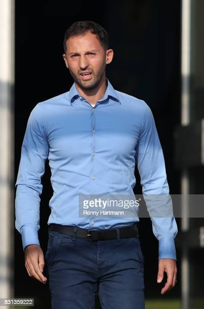 Head coach Domenico Tedesco of FC Schalke 04 enters the pitch prior to the DFB Cup first round match between BFC Dynamo and FC Schalke 04 at...