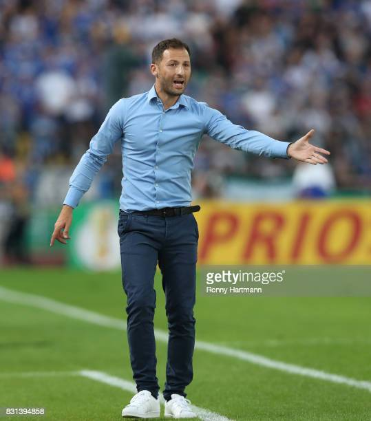 Head coach Domenico Tedesco of FC Schalke 04 gestures during the DFB Cup first round match between BFC Dynamo and FC Schalke 04 at...