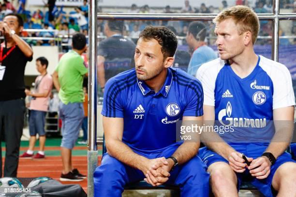 Head coach Domenico Tedesco of FC Schalke 04 looks on during the 2017 International soccer match between Schalke 04 and Besiktas at Zhuhai Sports...