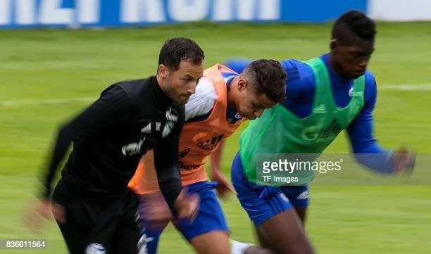 Head coach Domenico Tedesco of Schalke Amine Harit of Schalke Breel Embolo of Schalke run during the Training Camp of FC Schalke 04 on July 27 2017...