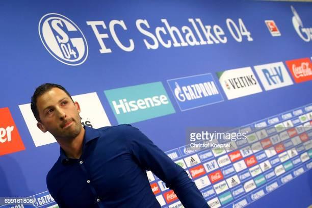 Head coach Domenico Tedesco of Schalke is seen during the presentation of new head coach Domenico Tedesco at VeltinsArena on June 21 2017 in...