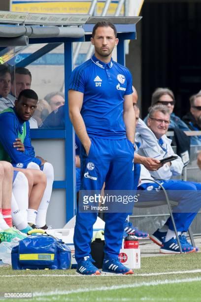 Head coach Domenico Tedesco of Schalke looks on during the preseason friendly match between SC Paderborn and FC Schalke 04 at BentelerArena on July...
