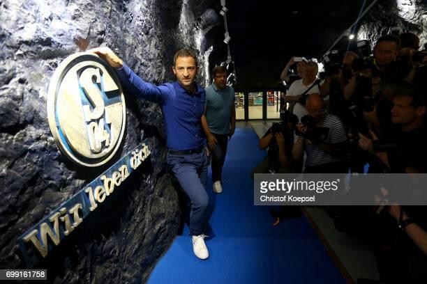 Head coach Domenico Tedesco of Schalke poses during the presentation of new head coach Domenico Tedesco at VeltinsArena on June 21 2017 in...