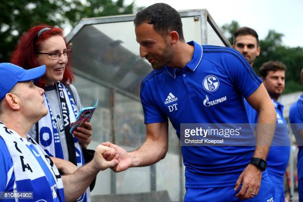 Head coach Domenico Tedesco of Schalke welcomes fans priot to the preseason friendly match between SpVgg Erkenschwick and FC Schalke 04 at Stimberg...