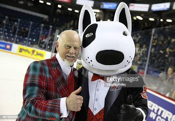 Head Coach Don Cherry of Team Cherry with Niagara IceDogs Mascot Bones following the 2015 BMO CHL/NHL Top Prospects Game against Team Orr at the...