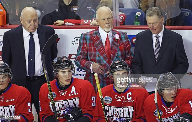 Head coach Don Cherry seems resigned to defeat against Team Orr in the 2015 BMO CHL/NHL Top Prospects Game at the Meridian Centre on January 22 2015...