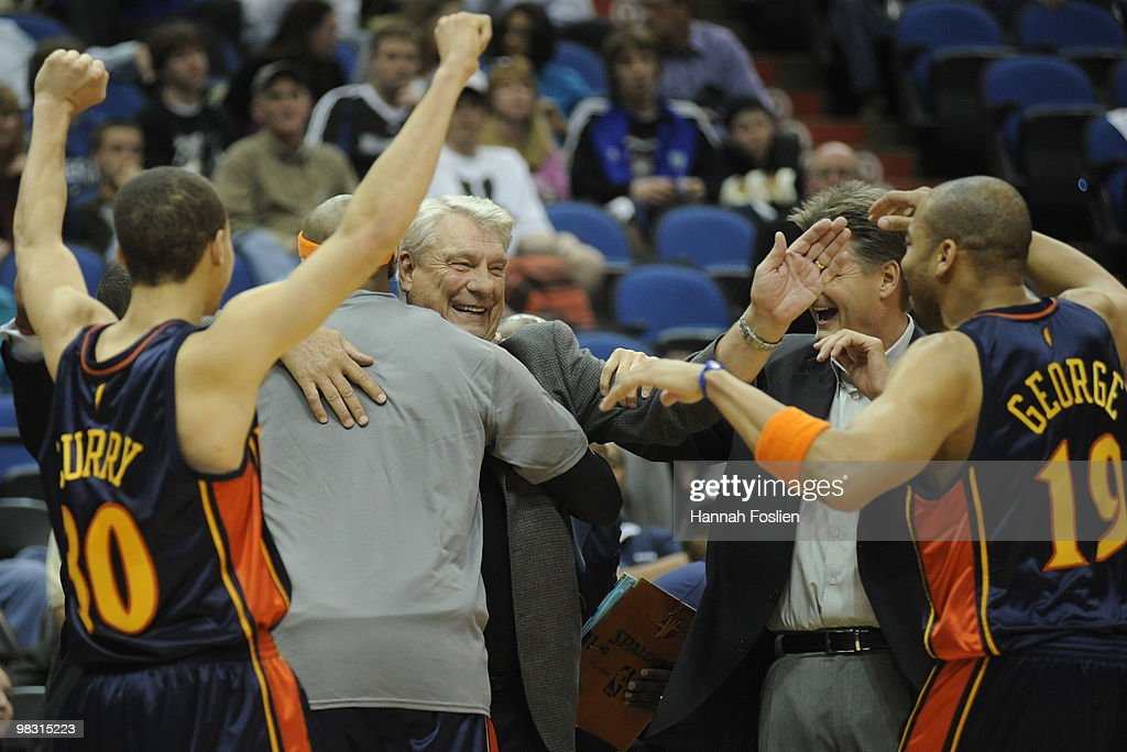 Head coach Don Nelson (C) of Golden State Warriors celebrates with his fellow coaches and players following a basketball game against the Minnesota Timberwolves at Target Center on April 7, 2010 in Minneapolis, Minnesota. The Warriors defeated the Timberwolves 116-107.