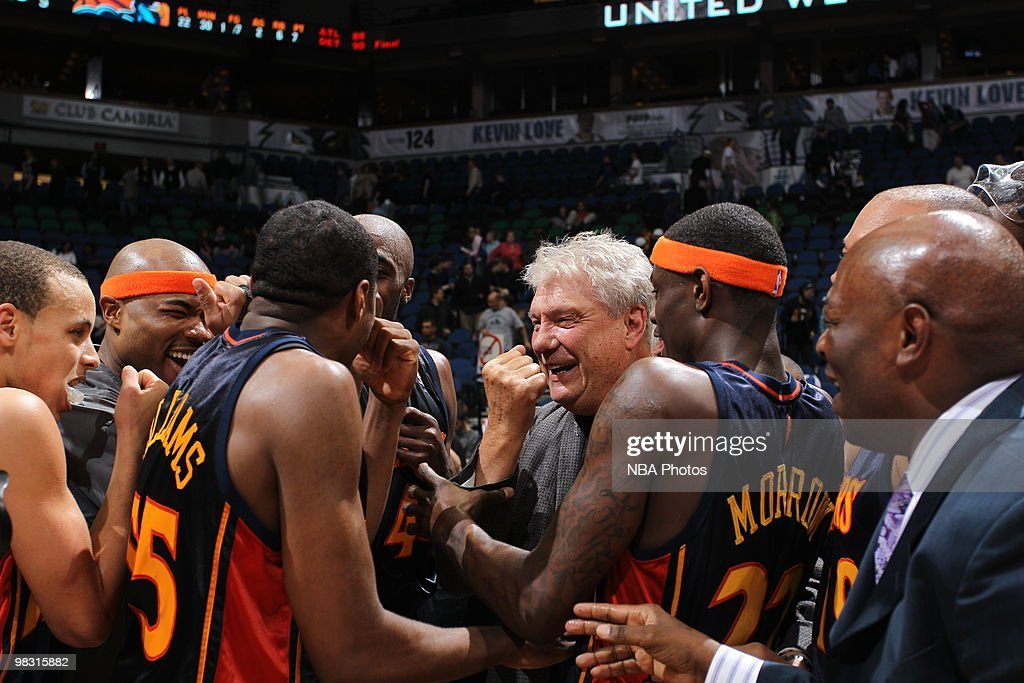 Head Coach Don Nelson of the Golden State Warriors celebrates with his team on court in honor of becoming the all-time NBA winningest coach with 1,333 wins following the game against the Minnesota Timbwerwolves on April 7, 2010 at the Target Center in Minneapolis, Minnesota.