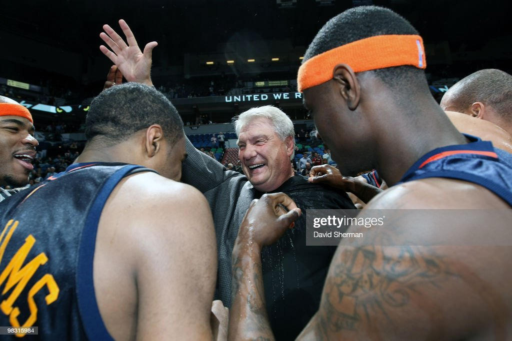 Head coach Don Nelson of the Golden State Warriors celebrates with his players after becoming the all-time NBA winningest coach with 1,333 wins with a victory over the Minnesota Timbwerwolves on April 7, 2010 at the Target Center in Minneapolis, Minnesota.
