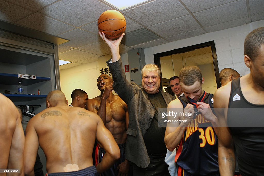 Head coach Don Nelson of the Golden State Warriors holds up the game ball in celebration of becoming the all-time NBA winningest coach with 1,333 wins following a victory over the Minnesota Timbwerwolves on April 7, 2010 at the Target Center in Minneapolis, Minnesota.