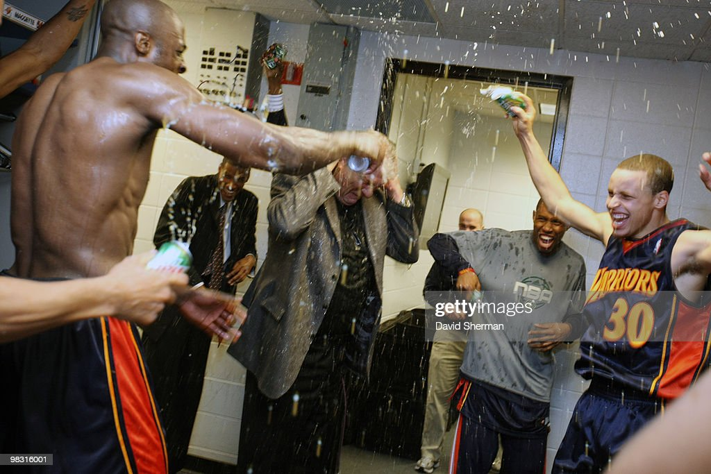 Head coach Don Nelson of the Golden State Warriors is sprayed with soft drinks in celebration of his becoming the all-time NBA winningest coach with 1,333 wins following a victory over the Minnesota Timbwerwolves on April 7, 2010 at the Target Center in Minneapolis, Minnesota.