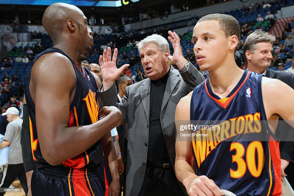 Head coach Don Nelson of the Golden State Warriors talks to his players on court after becoming the all-time NBA winningest coach with 1,333 wins following the game against the Minnesota Timbwerwolves on April 7, 2010 at the Target Center in Minneapolis, Minnesota.