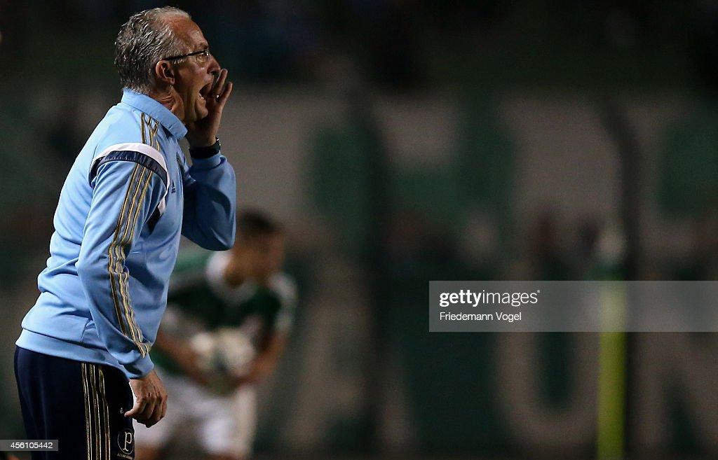 Head coach Dorival Junior of Palmeiras gives advise during the match between Palmeiras and Vitoria for the Brazilian Series A 2014 at Estadio do...