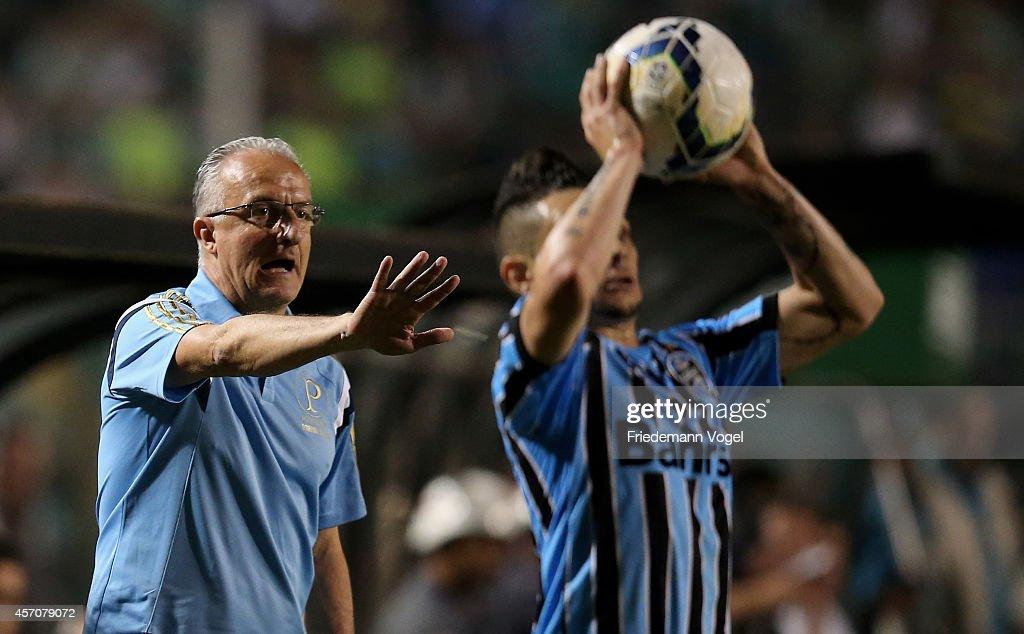 Head coach Dorival Junior of Palmeiras gives advise during the match between Palmeiras and Gremio for the Brazilian Series A 2014 at Estadio do...