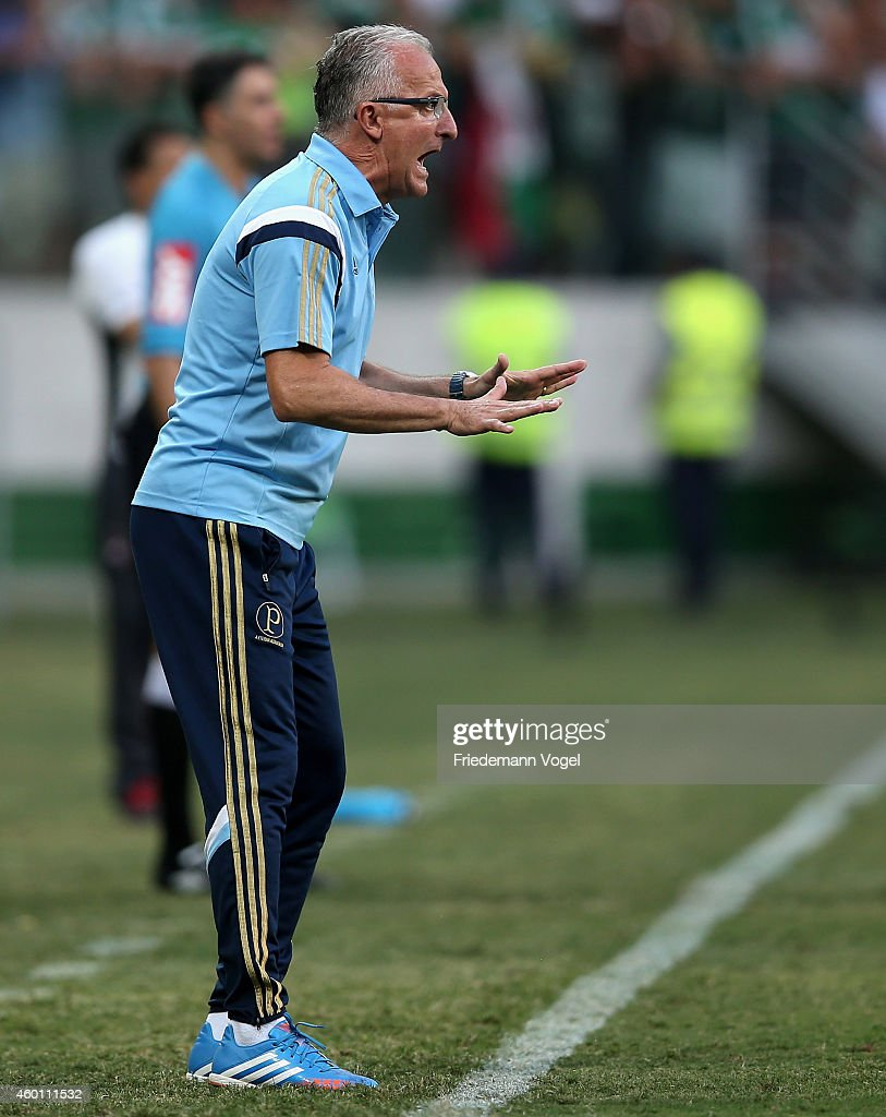 Head coach Dorival Junior of Palmeiras gives advise during the match between Palmeiras and Atletico PR for the Brazilian Series A 2014 at Allianz...
