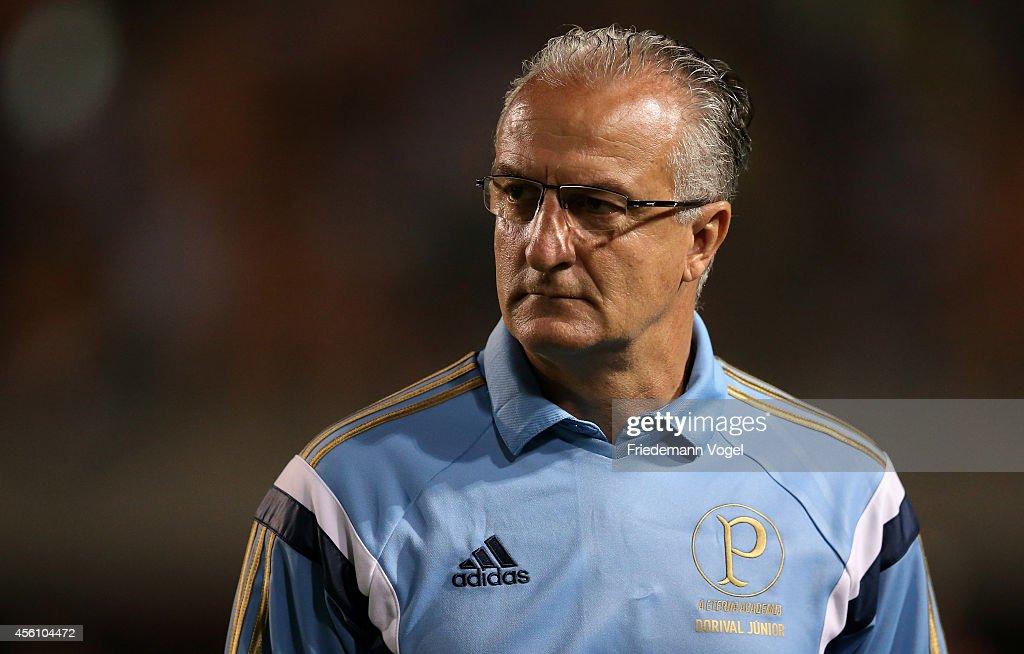 Head coach Dorival Junior of Palmeiras looks on during the match between Palmeiras and Vitoria for the Brazilian Series A 2014 at Estadio do Pacaembu...