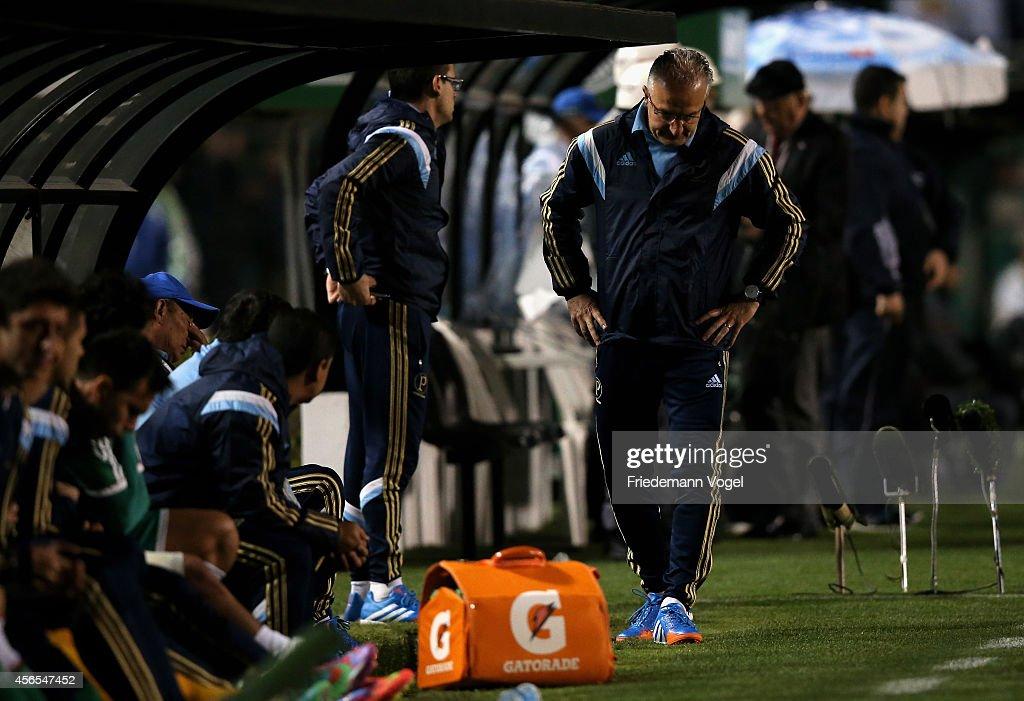 Head coach Dorival Junior of Palmeiras looks on during the match between Palmeiras and Chapecoense for the Brazilian Series A 2014 at Estadio do...