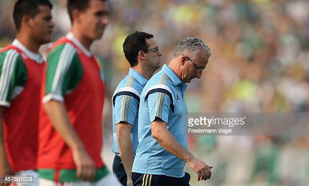 Head coach Dorival Junior of Palmeiras looks on during the match between Palmeiras and Santos for the Brazilian Series A 2014 at Estadio do Pacaembu...