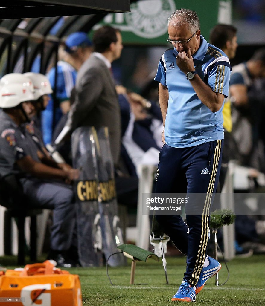 Head coach Dorival Junior of Palmeiras looks on during the match between Palmeiras and Atletico MG for the Brazilian Series A 2014 at Pacaembu...