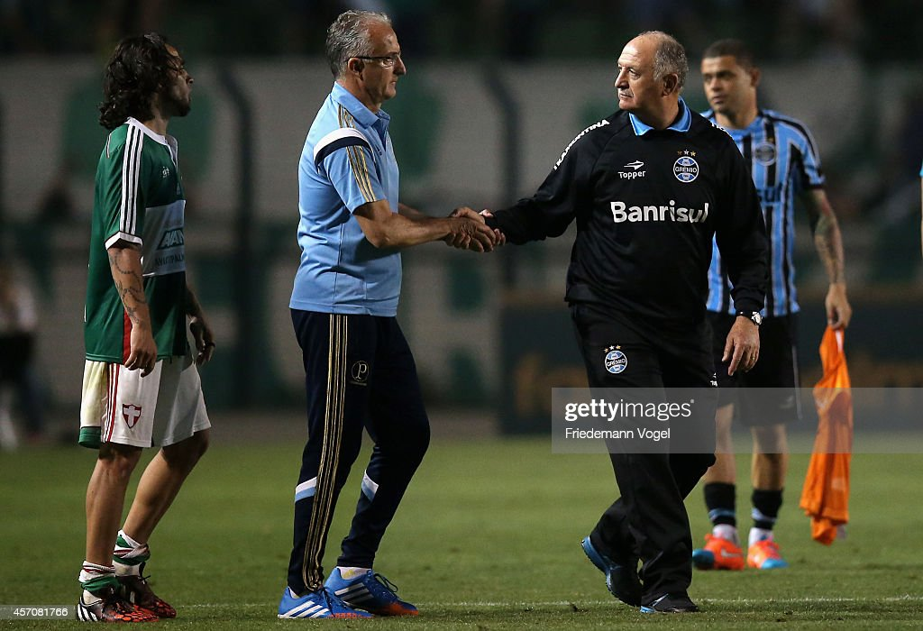 Head coach Dorival Junior of Palmeiras speaks with head coach Luiz Felipe Scolari of Gremio during the match between Palmeiras and Gremio for the...