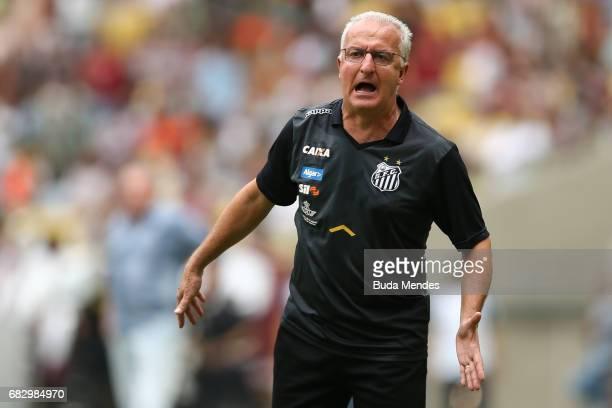 Head coach Dorival Junior of Santos gestures during a match between Fluminense and Santos as part of Brasileirao Series A 2017 at Maracana Stadium on...
