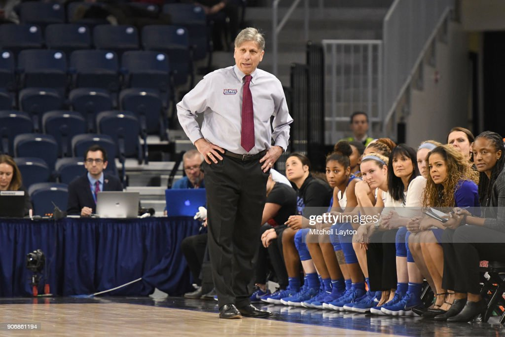 Head coach Doug Bruno of the DePaul Blue Demons looks on during a women's college basketball game against the Xavier Musketeers at Wintrust Arena on January 12, 2018 in Chicago, Illinois. The Blue Demons won 79-48.