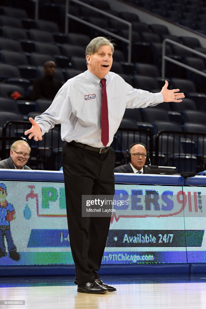 Head coach Doug Bruno of the DePaul Blue Demons reacts to a call during a women's college basketball game against the Xavier Musketeers at Wintrust Arena on January 12, 2018 in Chicago, Illinois. The Blue Demons won 79-48.