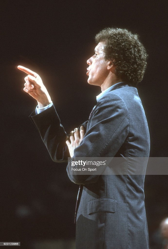 Head coach Doug Collins of the Chicago Bulls looks on against the Washington Bullets during an NBA basketball game circa 1987 at the Capital Centre in Landover, Maryland. Collins coached the Bulls from 1986-89.