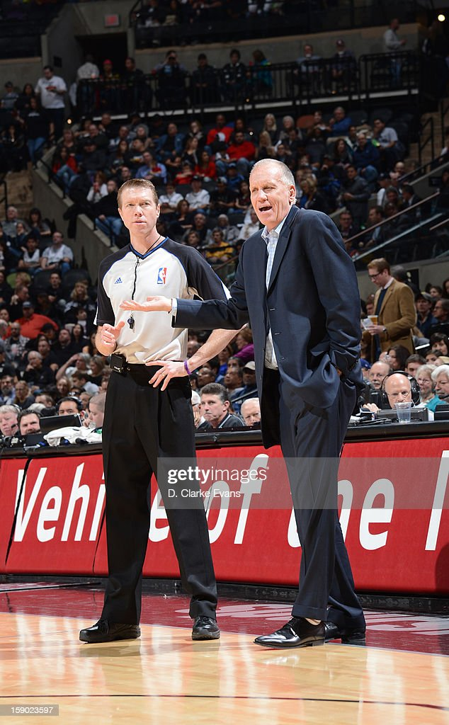 Head Coach <a gi-track='captionPersonalityLinkClicked' href=/galleries/search?phrase=Doug+Collins&family=editorial&specificpeople=238972 ng-click='$event.stopPropagation()'>Doug Collins</a> of the Philadelphia 76ers looks on during the game between the Philadelphia 76ers and the San Antonio Spurs on January 5, 2013 at the AT&T Center in San Antonio, Texas.