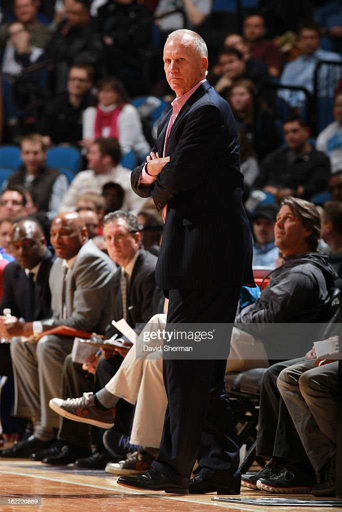 Head Coach Doug Collins of the Philadelphia 76ers looks on during the game between Philadelphia 76ers and the Minnesota Timberwolves on February 20, 2013 at Target Center in Minneapolis, Minnesota.