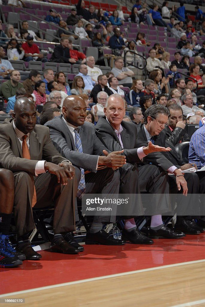 Head Coach <a gi-track='captionPersonalityLinkClicked' href=/galleries/search?phrase=Doug+Collins&family=editorial&specificpeople=238972 ng-click='$event.stopPropagation()'>Doug Collins</a> of the Philadelphia 76ers reacts from the sidelines during the game between the Detroit Pistons and the Philadelphia 76ers on April 15, 2013 at The Palace of Auburn Hills in Auburn Hills, Michigan.