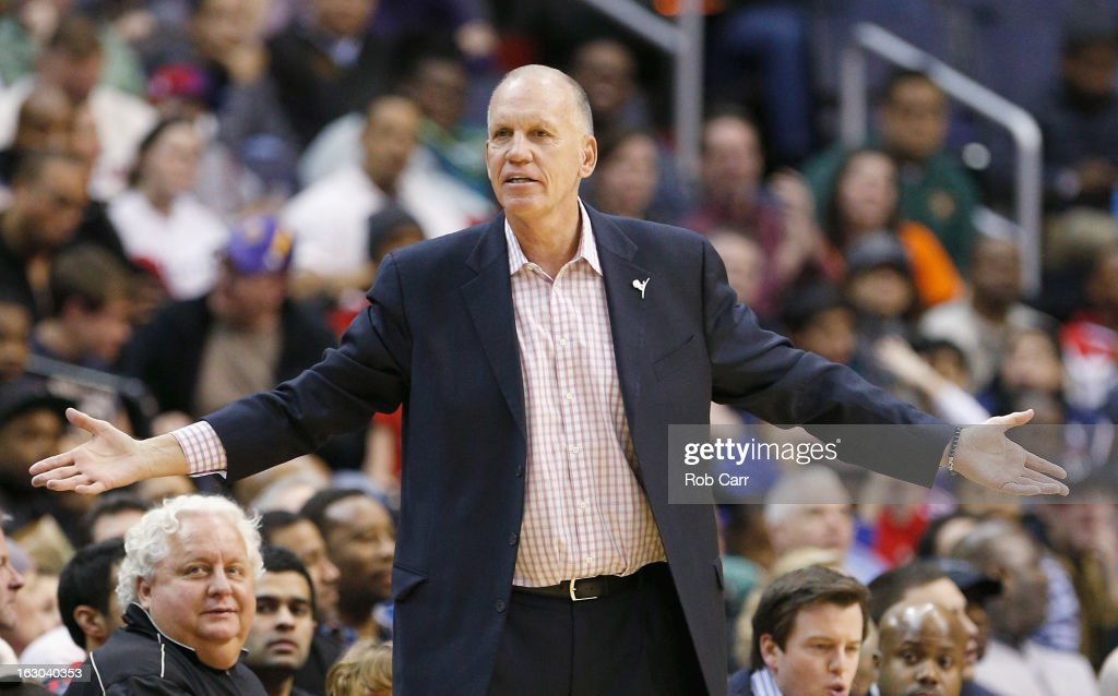 Head coach <a gi-track='captionPersonalityLinkClicked' href=/galleries/search?phrase=Doug+Collins&family=editorial&specificpeople=238972 ng-click='$event.stopPropagation()'>Doug Collins</a> of the Philadelphia 76ers reacts to a call during the second half against the Washington Wizards at Verizon Center on March 3, 2013 in Washington, DC.